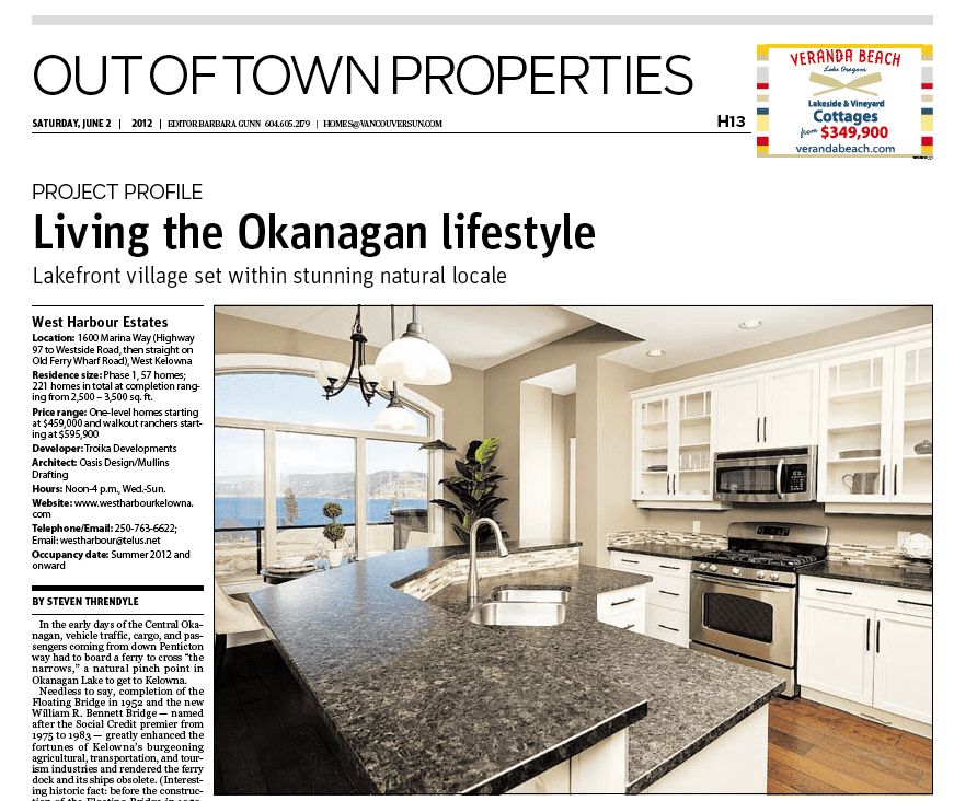 screenshot of project profile article on west harbour by the vancouver sun