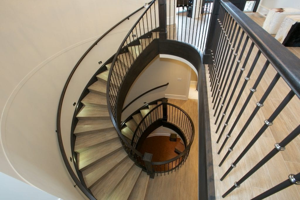 interior shot of west harbour home spiral staircase