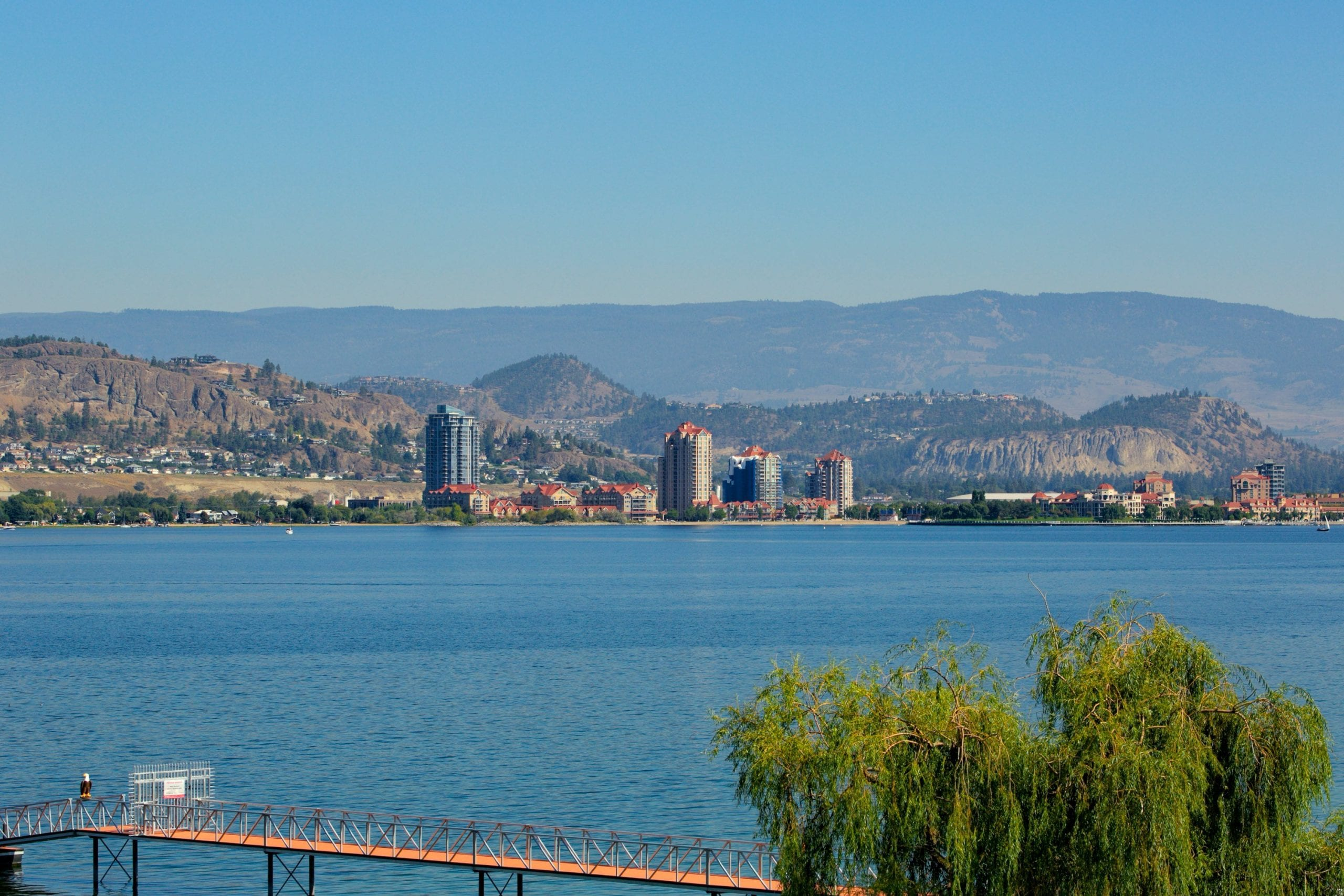 overlooking okanagan lake fixated on kelowna buildings in the distance